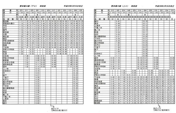 堅田細川線時刻表(28年)